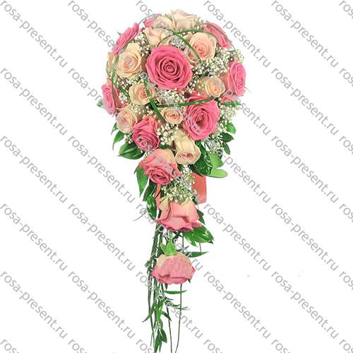 Круглый букет из роз своими руками